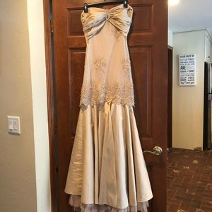 Beige Prom Dress with lace overlay